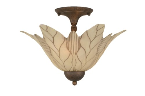 Toltec Lighting 120-BRZ-102 Two-Bulb Semi-Flush Mount Bronze Finish with Vanilla Leaf Glass Shade, 16-Inch