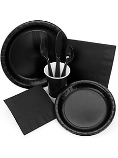 High Quality Amscan Black Mega Party Event Pack for 50 Guests! With Bonus Cutlery Set by Black Party Supplies