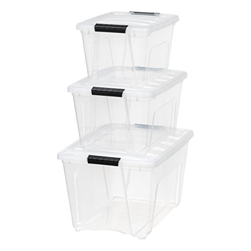 IRIS USA, Inc. TB-56D/28/17 Combo, Stack & Pull Box, 19, 32, and 53 Quart, Clear