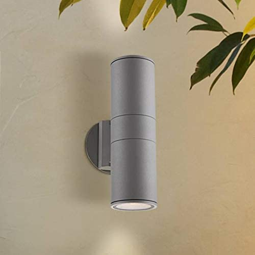 Ellis Modern Outdoor Sconce Light Fixture Silver Cylindrical 11 3/4″ Tempered Glass Lens Up Down