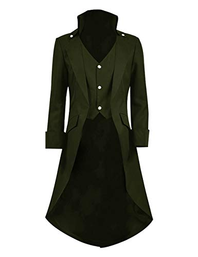 Very Last Shop Mens Gothic Tailcoat Jacket Black Steampunk Victorian Long Coat Halloween Costume (US Men-M, Army -
