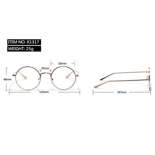 Or Lunettes Rétro 400 De UV Rondes Métallique Soleil MagiDeal Miroir Protection Cadre OnZ7Pqx