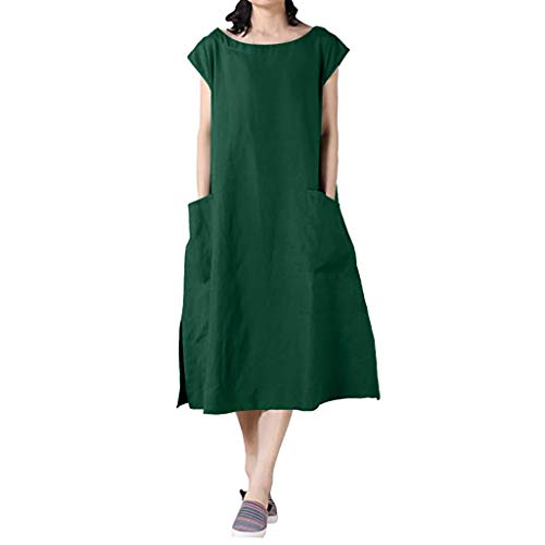 ZZpioneer Dresses for Women Casual Summer Cap Sleeve Solid Color Plus Size Shift Dress with Pockets(4XL,Green) ()