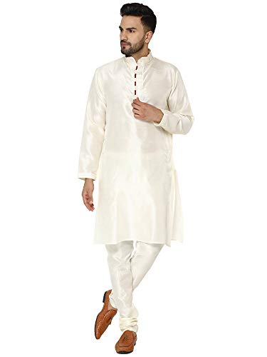 SKAVIJ Men's Art Silk Kurta Pajama Indian Traditional Summer Wedding Party Dress Set