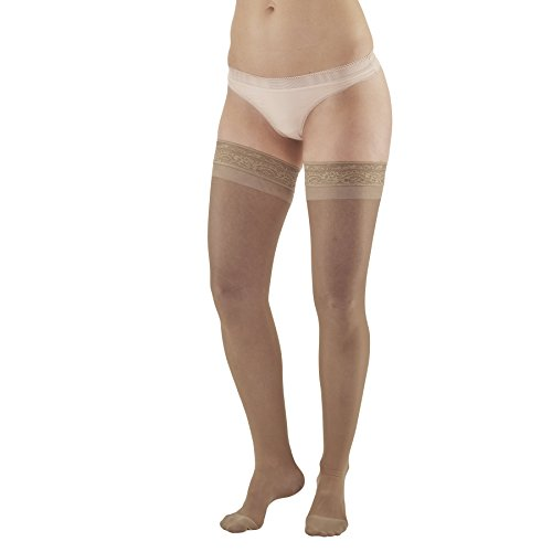 Ames Walker AW Style 4 Sheer Support 15 20mmHg Moderate Compression Closed Toe Thigh High Stockings w Lace Band Taupe XLarge Fashionably Sheer Appearance relieves Tired Aching and Swollen Legs