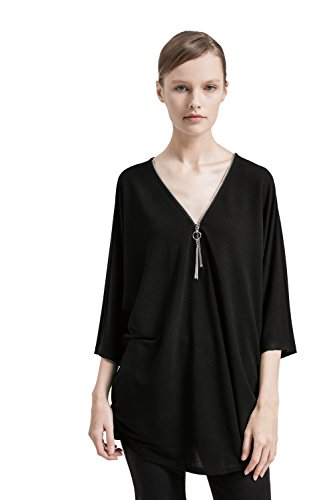 Women's Sexy Plunging V Neck Zipper Pullover 3/4 Sleeve Casual Loose Shirt Blouse Top (S-XL) (Sleeve Top 3/4 Silk)