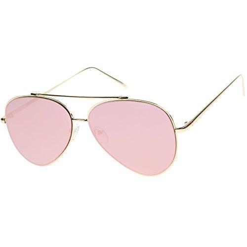 ZeroUV - Mod Fashion Teardrop Rimless Mirror Flat Lens Metal Frame Aviator Sunglasses 58mm (Gold / Pink Mirror)