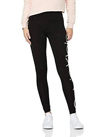 Calvin Klein Women's Jumbo Logo High Waist Full Length Jersey Legging, Silver Iridescent Combo, XS