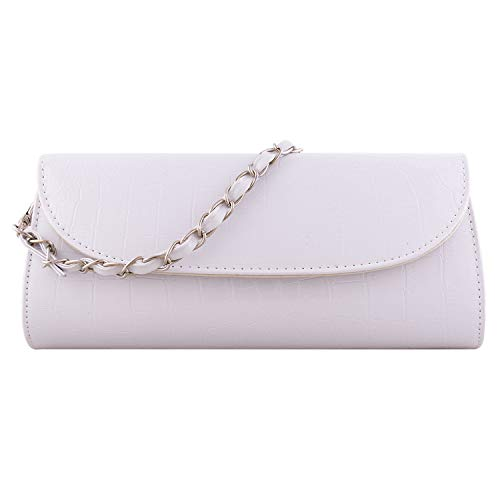 Bundle Monster Womens Envelope Evening Patent Croc Skin Embossed Clutch - WHITE