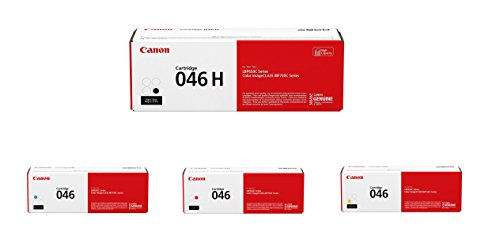 Canon 046 Toner Cartridge Set - High Yield Black and Standard Yield Cyan, Magenta and Yellow - 1247C001, 1248C001, 1249C001, 1254C001 ()
