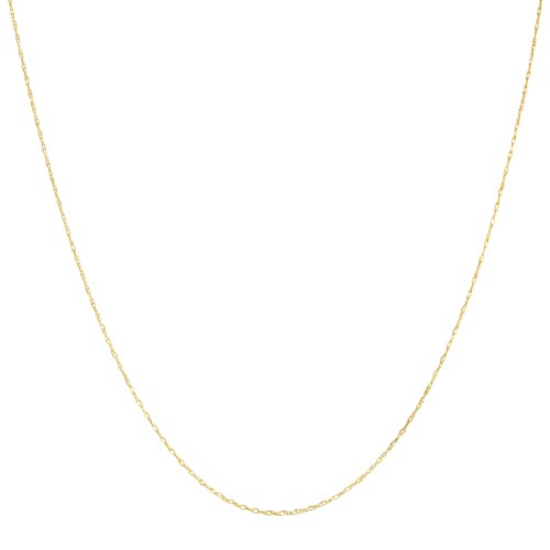 Solid 14k Yellow, White or Rose Gold 0.7mm Thin Rope Chain