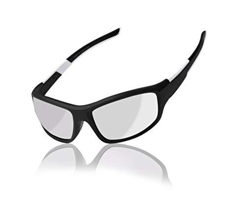 White Frame Silver Mirror Lenses - Full Frame Sport Black and White Frame with Silver Mirror Lens, Pouch Included