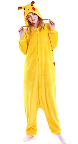 75 Off Halloween Costumes (AooToo Womens Unisex Cute Flannel Halloween Animal Costume Pajamas(Yellow, XL))