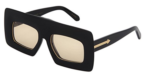 KAREN WALKER Enlightened Black Yellow Mirrored Arrow Square