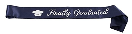 Blue Panda Graduation Sash - Graduate Satin Sash for High School, College, and Graduation Party, Grad Gifts Props and Supplies, Navy with Silver Foil Print, 33 x 3.9 Inches