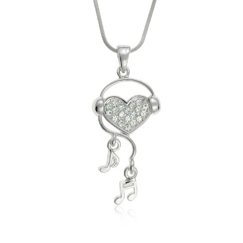 Music Note Necklace Crystals with Silvertone Heart Wearing Headphones by PammyJ, 18""
