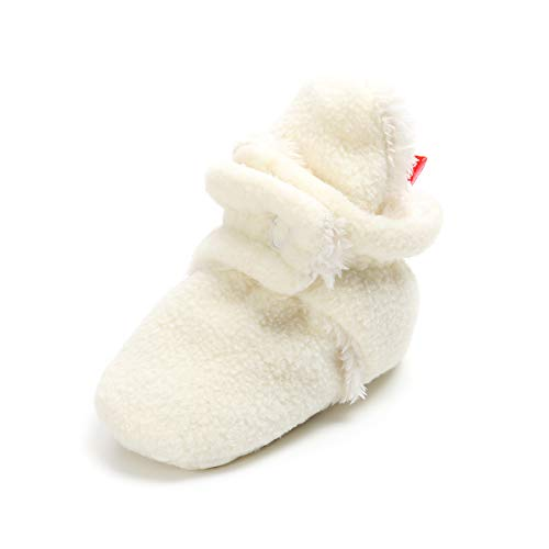 E-FAK Baby Cozy Fleece Booties with Non Skid Bottom Newborn Infant Crib Shoes Snow Boots (12cm(6-12 Months), White Fur)