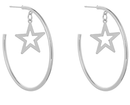Hoops Earrings for Women Girls Simple Round Circle Star Dangle Drop Link Cuff Stud Earring by SUNSCSC (Silver 706) ()