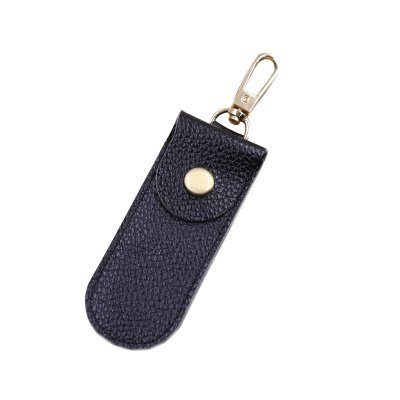 Black Unique Genuine Full-Grain Leather Upper USB Flash Drive Case Single Capacity Gadget Pouch Drive Holder Bag with Key Chain