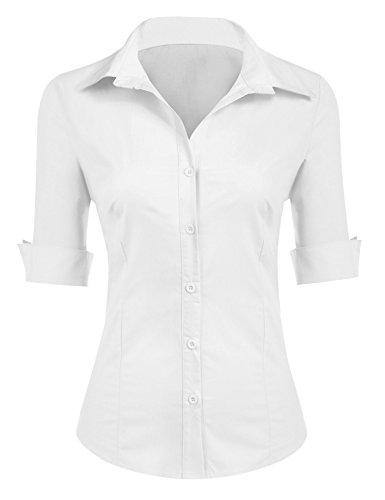Misakia Ladies Classic Wrinkle Free Long Sleeve Oxford (White (Ladies Classic Oxford Shirt)