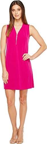 Ivanka Trump Women's Matte Jersey Sleeveless Zipper V-Neck Detail Shift Dahlia Tank - Sleeveless Jersey Lined