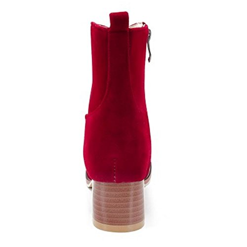 Mujer Botas Botines Zanpa Cremallera Casual Rojo 4IYtxd