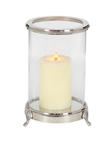Footed Hurricane - Deco 79 42216 Aluminum and Clear Glass Footed Candle Holder, 12