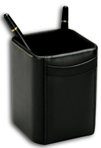 (Dacasso Black Leather Pencil Cup)