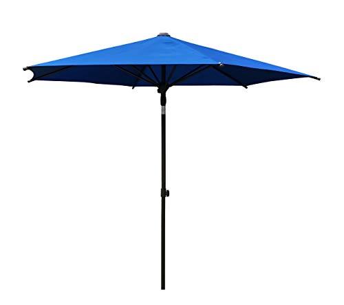 (SORARA 9 Ft Aluminum Frame Cafe Umbrella - Market Table Umbrella Patio Umbrella Push to Open, 6 Ribs, Ocean Blue)