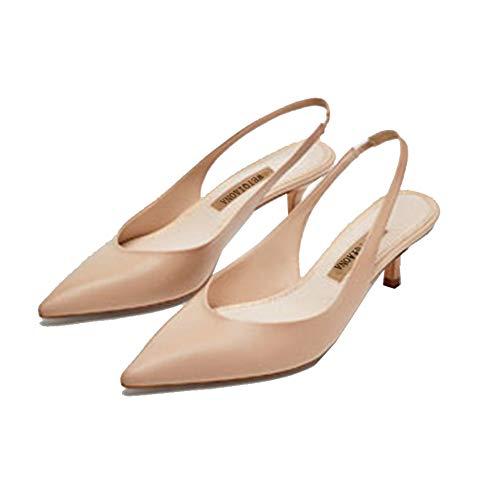 Bout Moyen Chaussures Fête Beige Pointu Talon Hauts Talons Slingbacks À Femmes Escarpins De Mariage Printemps pwHqBn