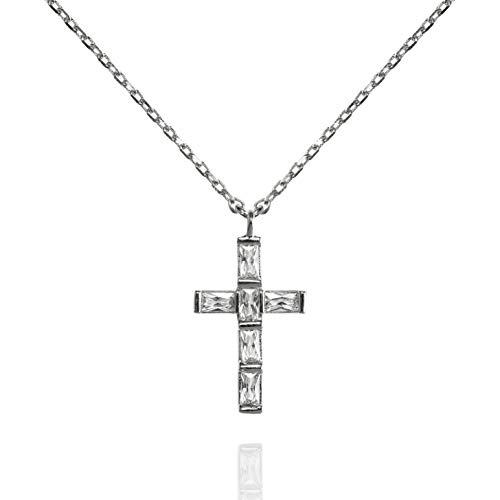 namana Cross Necklace wth Baguette Cubic Zirconia. Cross Pendant Necklace in Silver or Gold Plated with Stones. Cross Necklace with Gift Box