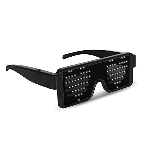 WHITE LED Flash Glasses 8 Adjustable Patterns Luminous Flashing Shades Eye Wear For Birthday Party Corporate Events Raves Music Festivals Nightclubs Concerts Weddings Dancing Group Fitness Great ()