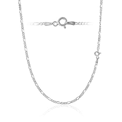 """Sterling Silver 2.2mm 6 Gauge Men's Italian Figaro Chain Necklace or Bracelet Available 7 - 36"""" in"""