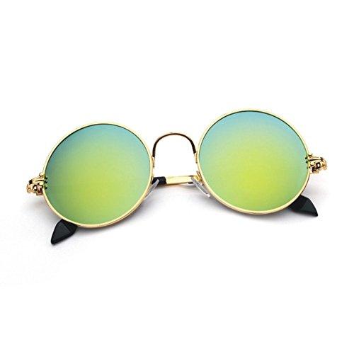 Sol QY Gafas Redondo Retro Marco Protección Solar Protección Color Reflejo Anti 1 Clásico De Unisex 2 YQ UV dXtqEq