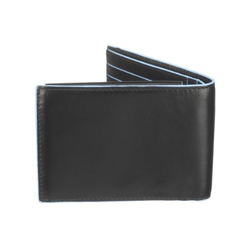 Piquadro Purse Black BLUE Coin Billfold Wallet Men Leather PU257B2 with SQUARE O7qRaOw