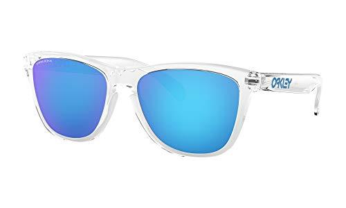 Oakley Frogskins Sunglasses Crystal Clear with Prizm Sapphire Iridium Lens + Sticker (Original Oakley Frogskins)