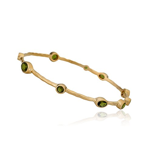 Riccova Arctic Mist Satin Hammered 14k Gold-Plated Thin Bangle With Olive Small Round Stones 65 mm