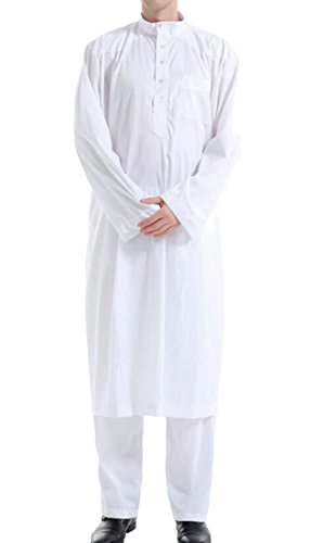 Rrive Men's Muslim Islamic Thobe Arab Two Pieces Saudi Long Robes White L by Rrive