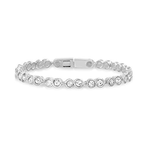 Devin Rose Womens Infinity Design Tennis Bracelet Made With Swarovski Crystals in Rhodium Plated Brass ()