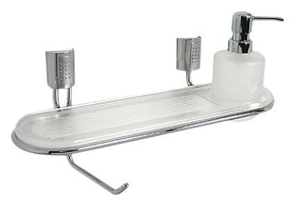 Haceka Balance 23230110 - Estante para baño (plástico, dispensador de jabón y papel higiénico