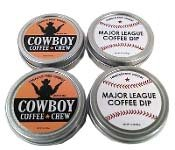 Chewing Tobacco Tin - SPLIT 4 Pack Cowboy Coffee Chew & Major League Coffee Dip Quit Chewing Tin Can Non Tobacco Nicotine Free Smokeless Alternative to Dip Snuff Snus Leaf