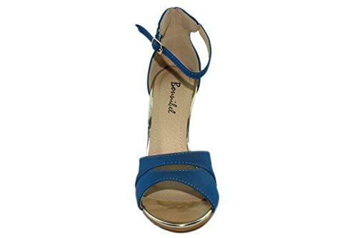 Bonnibel Vrouwen Seelo-3 Peep-teen Gesp Enkelband Stiletto Hoge Hakken Blauw
