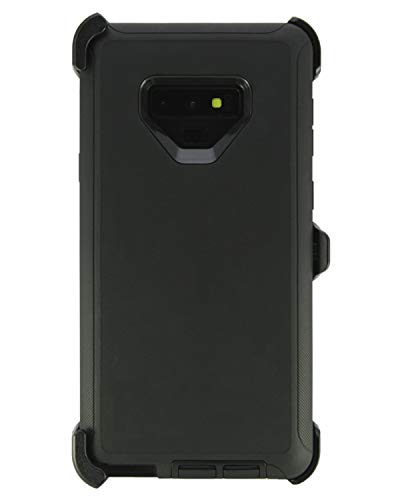 WallSkiN Turtle Series Cases for Samsung Galaxy Note 9 (Only) Tough Protection with Kickstand & Holster - Shadow (Black/Black)