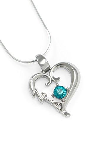 (The Collegiate Standard Zeta Tau Alpha Sterling Silver Heart Pendant with Swarovski Turquoise Crystal)