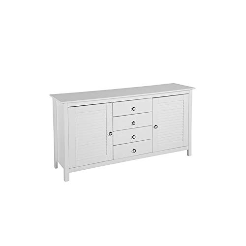 Chest Tv White (Mid Century Modern White Wooden Dresser Chest with 4 Drawers 4 Shelves and 2 Doors - Includes Modhaus Living Pen)