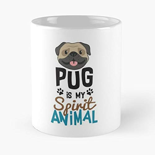 Cute Pug Spirit Animal Coffee Mugs Unique Ceramic Novelty Cup