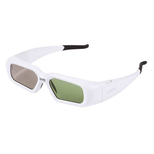 SainSonic SSZ-200DLW 3D Active Rechargeable Shutter Glasses for DLP-Link Projector, White