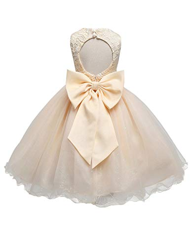 21KIDS Baby Girls Tulle Lace Flower Bridesmaid Gown Backless Dress with Bow for Party Wedding,Champagne,5-6 Years
