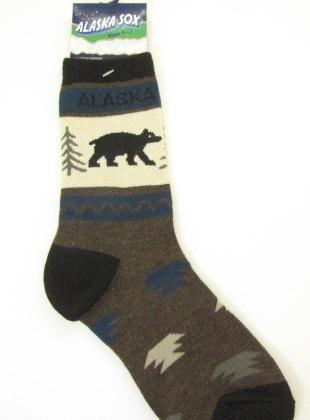 Alaska Bear & Pine Tree Novelty Socks - Ladies or Youth 8-11