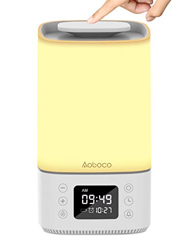 Aoboco-Touch-Sensor-Bedside-Table-Lamp-Nightstand-lamp-with-Quick-Type-C-Charging-Port-Alarm-Clock-Timer-Warm-Lights-RGB-Color-Changing-Night-Light-for-Bedroom-Living-Room-and-Office